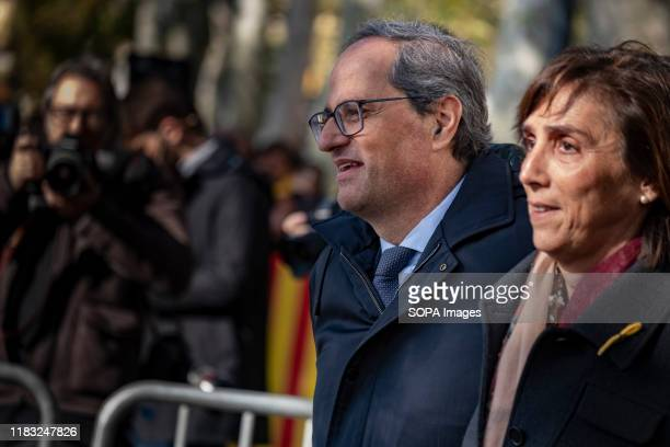 The president of the Generalitat of Catalonia Quim Torra accompanied by his wife Carola Miró after the trial at the Court of Justice of Catalonia....
