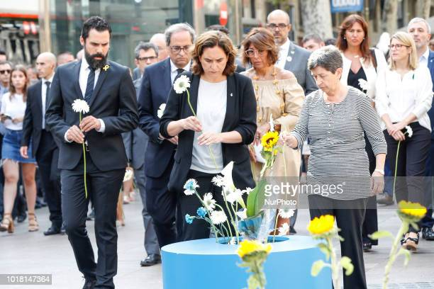 the president of the Generalitat of Catalonia Quim Torra the president of Parliament Roger Torrent and the mayor of Barcelona Ada Colau during the...