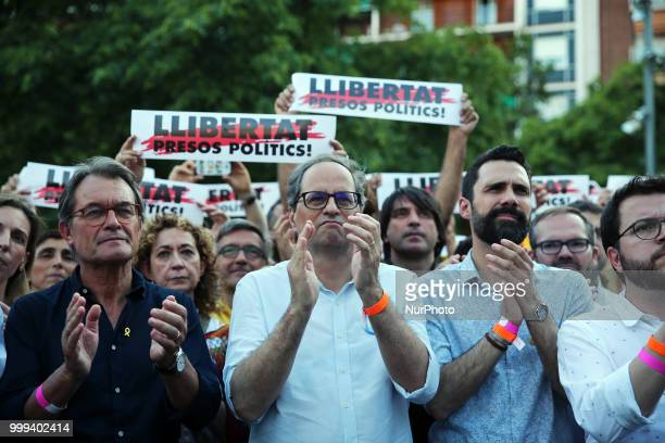 the President of the Generalitat of Catalonia Quim Torra the President ofvthe Parliament of Catalonia Roger Torrent and Artur Mas during the...