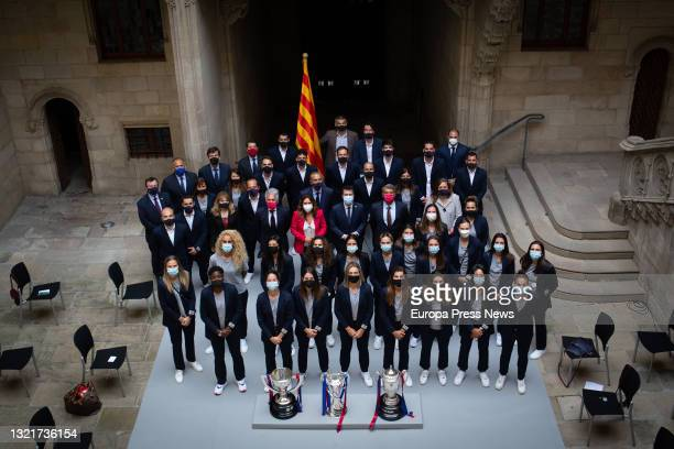 The president of the Generalitat, Pere Aragonès; the Minister of the Presidency, Laura Vilagrà; the president of FC Barcelona, Joan Laporta, and the...