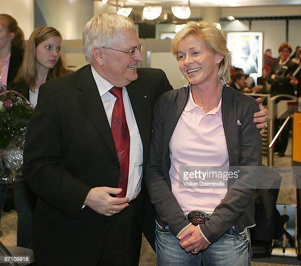 The president of the German Football Federation Theo Zwanziger welcomes the Women's German National Football Team and Headcoach Silvia Neid at the...