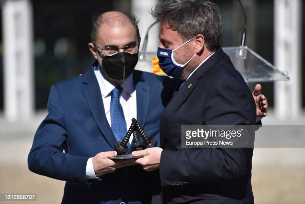 The President of the Government of Aragon, Javier Lamban and the Regional Minister of Territory of Aragon, Jose Luis Soro during the inauguration of...