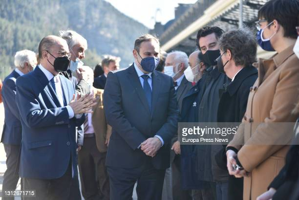 The President of the Government of Aragon, Javier Lamban and the Minister of Transport, Mobility and Urban Agenda, Jose Luis Abalos during the...