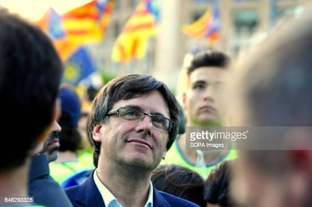 SQUARE BARCELONA CATALONIA SPAIN The President of the Government of Catalunya Carles Puigdemont seen during the rally at the national day of Catalonia