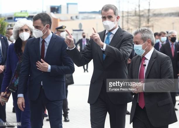 The President of the Government, Pedro Sanchez , and King Felipe VI , during the inauguration of the new Airbus campus, on 15 April 2021, in Getafe,...