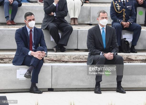 The President of the Government, Pedro Sanchez , and King Felipe VI, during the inauguration of the new Airbus campus, on 15 April 2021, in Getafe,...