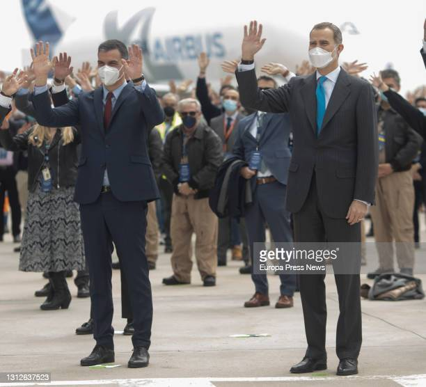 The President of the Government, Pedro Sanchez; and King Felipe VI, during the inauguration of the new Airbus campus, on 15 April 2021, in Getafe,...
