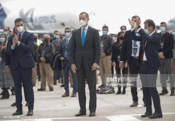 The President of the Government, Pedro Sanchez ; and King Felipe VI , during the inauguration of the new Airbus campus, on 15 April 2021, in Getafe,...