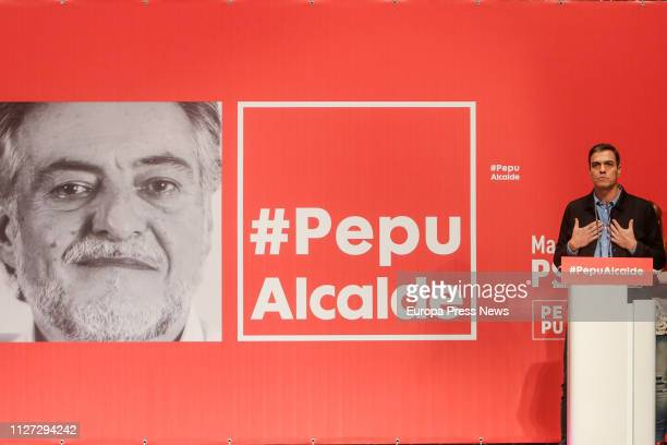 The president of the Government Pedro Sánchez is seen at the presentation of former basketball coach Pepu Hernandez as candidate for the PSOE's...