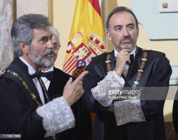 The president of the High Court, Carlos Lesmes , and the judge Manuel Marchena are seen during the opening of the judicial year 2019/2020 at the...