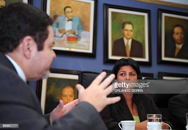 The president of the InterAmerican Commission on Human Rights Patricia Mejia meets Honduran Supreme Court president Jorge Rivera in Tegucigalpa on...