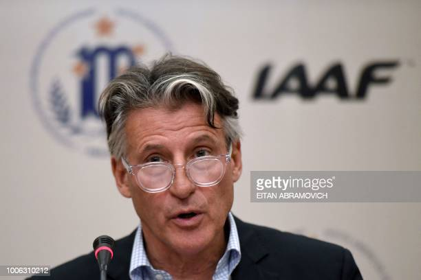 The president of the International Association of Athletics Federations Sebastian Coe speaks during a press conference in the framework of the IAAF...