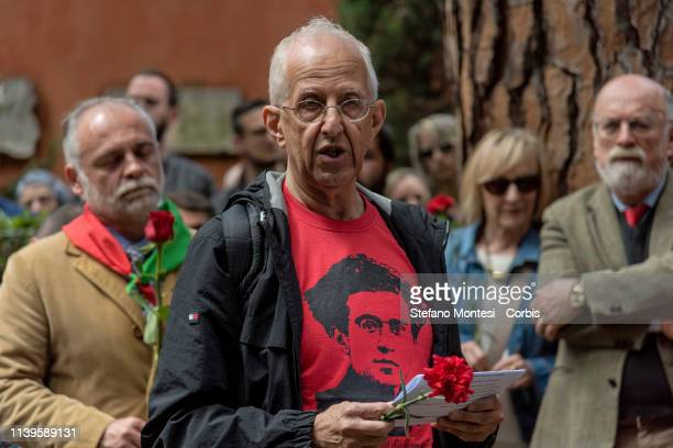 The President of the International Gramsci Society Italia Guido Liguori attend ceremony for 82 years after the death of Antonio Gramsci where the...
