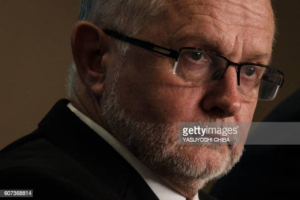 The President of the International Paralympic Committee Sir Philip Craven attends a press conference for the death of Iranian cyclist Bahman...