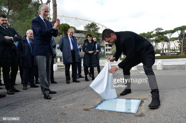 The president of the Italian Olympic Committee Giovanni Malago and former player Paolo Maldini during the ceremony Walk of Fame in Rome Italy on 12...