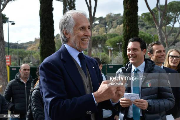 The president of the Italian Olympic Committee Giovanni Malago arrives for the ceremony Walk of Fame in Rome Italy on 12 March 2018 The Walk of Fame...