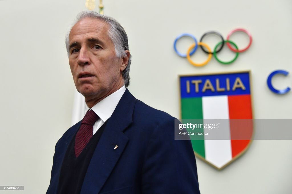 The president of the Italian Olympic Committee (CONI), Giovanni Malago gives a press conference a day after the elimination of Italy during the FIFA World Cup 2018 qualification football match against Sweden, on November 14, 2017 at the Foro Italico in Rome. Italy failed to reach the World Cup for the first time since 1958 on Monday as they were held to a 0-0 draw in the second leg of their play-off at the San Siro by Sweden, who qualified with a 1-0 aggregate victory. / AFP PHOTO / Alberto PIZZOLI