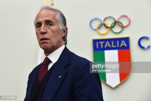 The president of the Italian Olympic Committee , Giovanni Malago gives a press conference a day after the elimination of Italy during the FIFA World...