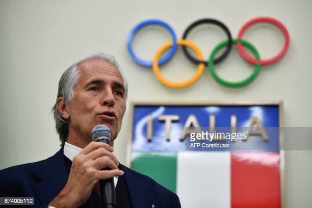 The president of the Italian Olympic Committee Giovanni Malago gives a press conference a day after the elimination of Italy during the FIFA World...