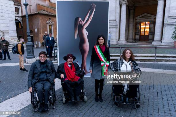 The President of the Italian Paralympic Committee Luca Pancalli , the Mayor of Rome Virginia Raggi attend the International Day of People with...