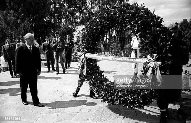 The President of the Italian Republic Giovanni Gronchi attends the ceremony of the setting down of a funeral wreath Italian homage to Andes Army...