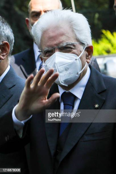 The President of the Italian Republic Sergio Mattarella arrives in Codogno for the Italian Republic Day, Italy, June 02 2020. Codogno was the...