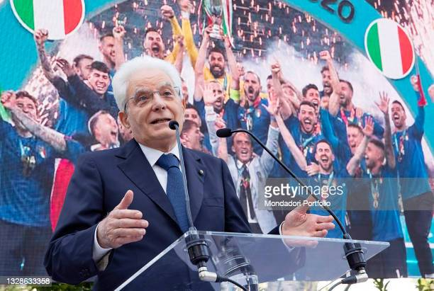 The President of the Italian Republic Sergio Mattarella during the ceremony at the Quirinale presidential palace in Rome on July 12th 2021, a day...