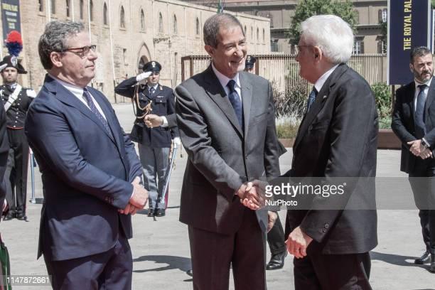 The President of the Italian Republic Sergio Mattarella greets the president of Sicilian Region Nello Musumeci during the visit to the Norman Palace...