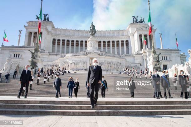 The President of the Italian Republic Sergio Mattarella lays a wreath on the Altare della Patria on Republic Day on June 02, 2020 in Rome, Italy.The...
