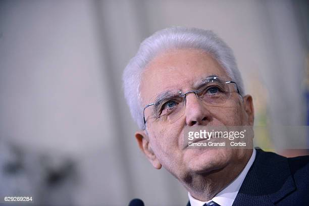 The President of the Italian Republic Sergio Mattarella speaks to the media after the end of the third day of talks with political parties at...