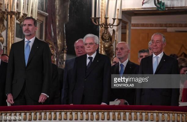 The President of the Italian Republic Sergio Mattarella the King of Spain Felipe VI and President of Portugal Marcelo Rebelo de Sousa in the royal...