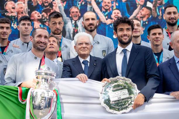 The President of the Italian Republic Sergio Mattarella with the Italian tennis player Matteo Berrettini and the Italian footballer Giorgio...