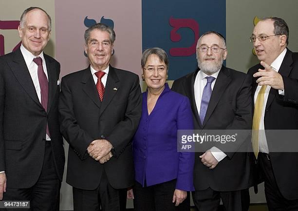 The President of the Jewish World Congress Ronald Lauder Austrian President Heinz Fischer his wife Margit Fischer Vienna's Rabbi Paul Chaim Eisenberg...