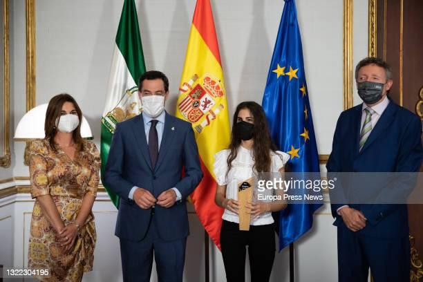 The president of the Junta de Andalucia, Juanma Moreno, receives in San Telmo the girl from Almeria Laura Diepstratren, winner of the International...