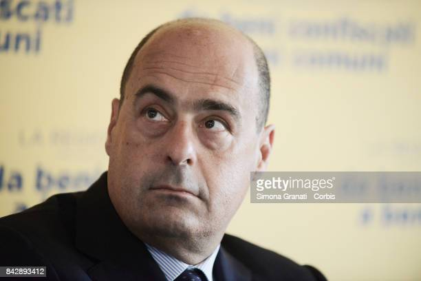 The President of the Lazio Region Nicola Zingaretti during the Ceremony for the delivery of a villa confiscated from the Casamonica clan in...