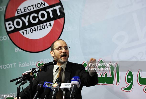 The president of the Movement for the Society of Peace the Algerian branch of the Muslim Brotherhood Abderrezak Mokri speaks during a press...