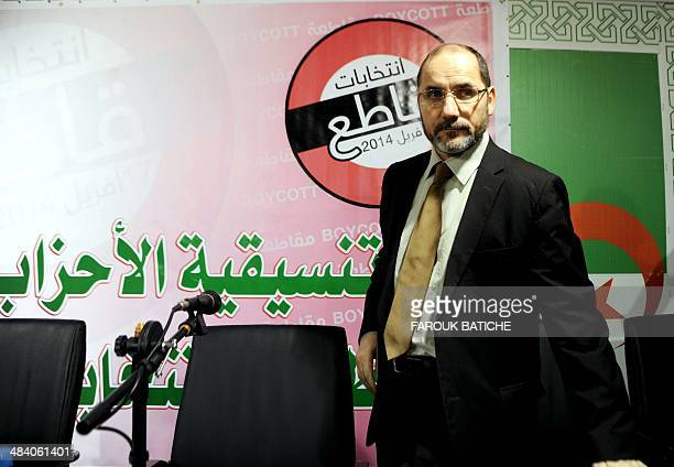 The president of the Movement for the Society of Peace the Algerian branch of the Muslim Brotherhood Abderrezak Mokri arrives for a press conference...