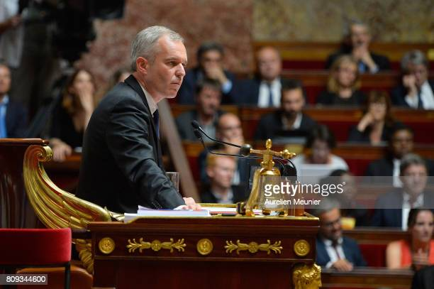 The President of the NAtional Assembly Franois de Rugy react as Ministers answer deputies during the weekly questions to the government at Assemblee...