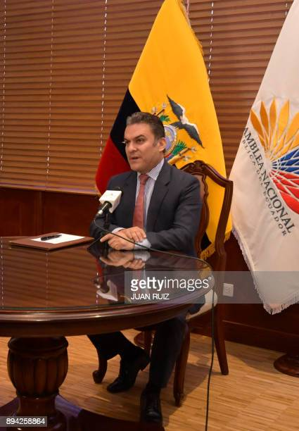 The president of the National Assembly's Legislative administration council Jose Serrano speaks during a press conference about the impeachment of...