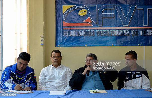 The president of the National Institute of Sport Pedro Infante the president of the Tennis Federation Luis Contreras the president of the Olympic...