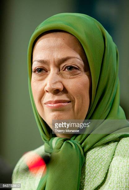 The president of the opposition National Council of Resistance of Iran movement Maryam RAJAVI holds a press conference The press conference comes a...