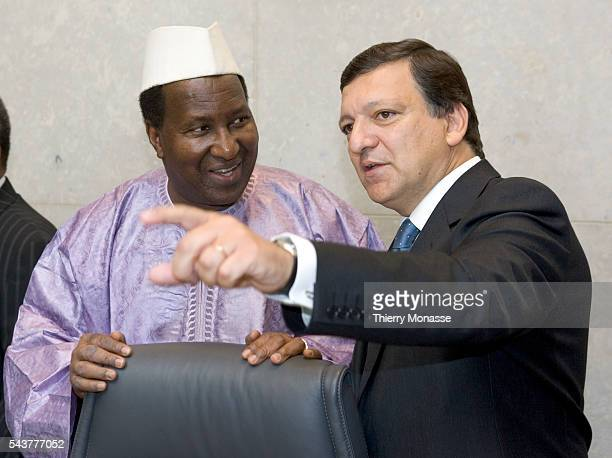 The President of the OUA Alpha Oumar Konare is welcomed by the President of the European Commission Jose Manuel Barroso prior to a meeting in the...