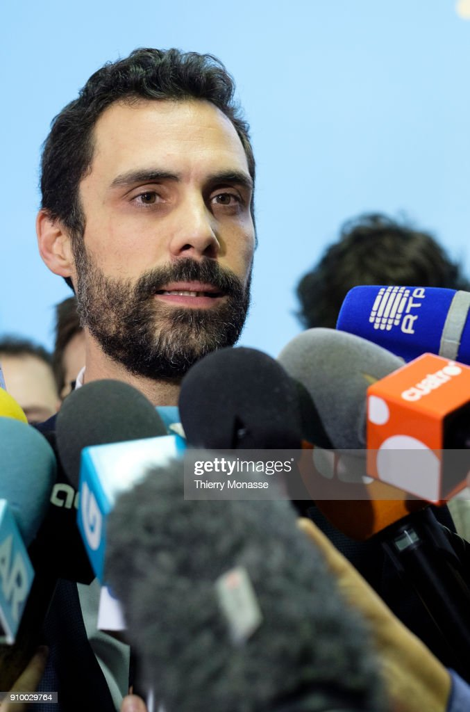 The President of the Parliament of Catalonia Roger Torrent addresses the media after a meeting with ousted Catalan leader (unseen) on January 24, 2018 in Brussels, Belgium.