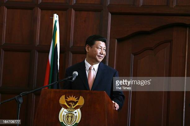 The President of the People's Republic of China, Xi Jinping, on March 26, 2013 at the Union Buildings in Pretoria, South Africa. Xi Jinping is in...