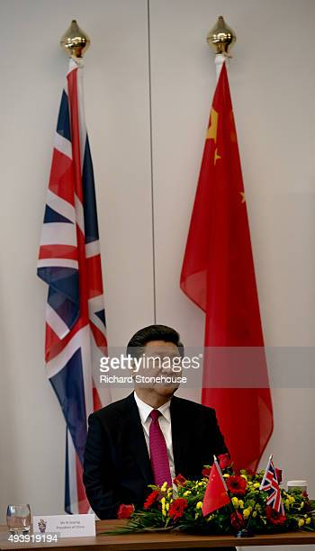The President of the People's Republic of China Xi Jinping tours the National Graphene Institute at Manchester University with the Chancellor of the...