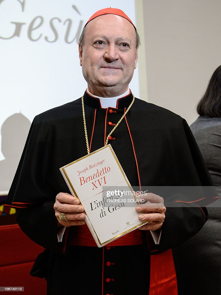 "The President of the Pontifical Council for Culture, cardinal Gianfranco Ravasi poses during the presentation of Pope Benedict XVI's new book 'Childhood of Jesus' to the press on November 20, 2012 at the Vatican. ""Childhood of Jesus"" is the third volume of Joseph Ratzinger's 'Jesus of Nazareth' series."