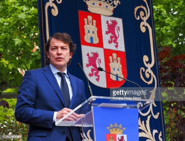 The president of the regional government of Castilla y León, Alfonso Fernández Mañueco, during his speech after the signing of the Pact for Economic...