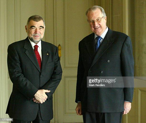 The President of the Republic of Croatia, Stipe Mesic , meets with Belgian King Albert II at the Royal Palace February 11, 2003 in Brussels, Belgium....