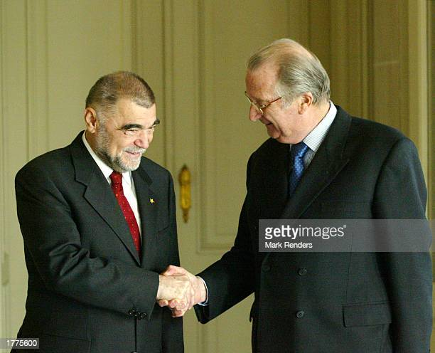 The President of the Republic of Croatia, Stipe Mesic , shakes hands with Belgian King Albert II at the Royal Palace February 11, 2003 in Brussels,...