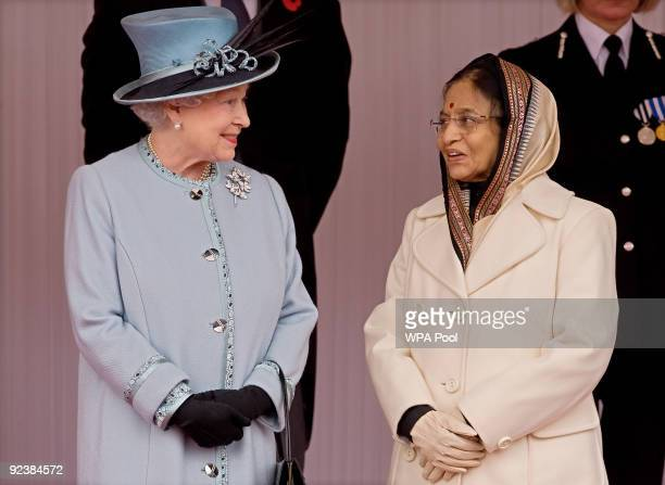 The President of the Republic of India Pratibha Patil is greeted by Britain's Queen Elizabeth IIas she arrives in Windsor at the beginning of a State...